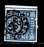 BAYERN, 1862, Used Stamp(s) , Number Stamps   M8,  Scan 15177, 6Kr Blue, - Bavaria