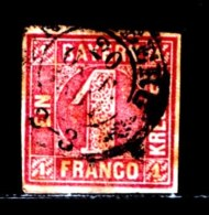 BAYERN, 1850, Used Stamp(s) , Number Stamps   M3,  Scan 15179, 1 Kr Red, - Bavaria