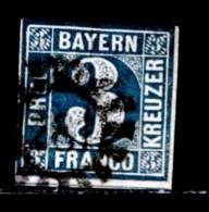 BAYERN, 1849, Used Stamp(s) , Number Stamps  M2,  Scan 15178, 3 Kr Blue, - Bavaria