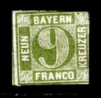 BAYERN, 1850, Unused Stamp(s) NO GLUE , Number Stamps  M5,  Scan 15181, 9 Kr Green, - Bavaria