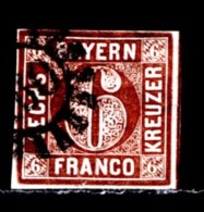 BAYERN, 1850, Used Stamp(s)   Number Stamps M4,  Scan 15182, 6 Kr Brown, - Bavaria
