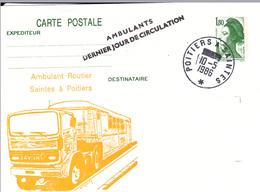 """CP France """"Ambulant Dernier Jour"""" Saintes à Poitiers 10/05/86 - Marcophilie (Lettres)"""