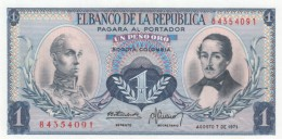 Colombia  #404e 1 Peso Oro, 7 August 1971 Issue Banknote - Colombia
