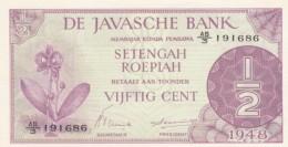 Netherland Indies #97, 1/2 Gulden 1948 Issue UNC Banknote - Indie Olandesi