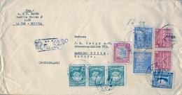 1946 BOLIVIA , CORREO AÉREO , SOBRE CERTIFICADO , LA PAZ - BASILEA , LLEGADA AL DORSO , FRANQUEO MÚLTIPLE - Bolivia