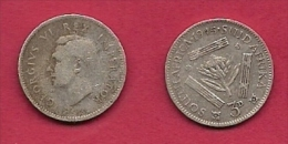 SOUTH AFRICA, 1945,  3d, 0.800 Silver, Nicely Used Coin,  George VI, KM26, C2709 - Zuid-Afrika