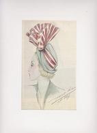 Dessin D'un Chapeau été 1947  Signé Legrand Louise - Habits & Linge D'époque