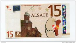 """Billet De Banque 15 Euros """"Alsace"""" 2008 - CGB - Billet Fictif De Fantaisie 15€ - Banknote - Unclassified"""