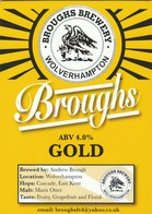BROUGHS BREWERY (WOLVERHAMPTON, ENGLAND) - GOLD - PUMP CLIP FRONT - Signs