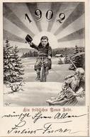 Année Date Millesime - 1902 - Soleil Jeune Sur Vélo Viel Homme à La Faux Fuyant - New Year