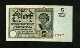 GERMANY 5 RENTENMARK 1926 SERIE Z, 7 DIGITS, Ros:R#164a P#169/1 - [ 3] 1918-1933 : Repubblica  Di Weimar