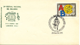 Argentina Cover With Special Postmark And Cachet 24 Festival National Del Malambo 3-6/1-1991 Single Franked - Argentina