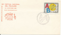 Argentina Cover With Special Postmark And Cachet 22 Festival National Del Folklore 12-14/10-1990 Single Franked - Argentina