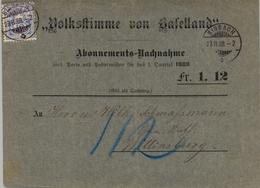 "1888 , SUIZA , SISSACH - WITTINSBURG , "" VOLKSLTIMME "" - IMPRESO DE ABONO A LA PUBLICACIÓN CIRCULADO , LLEGADA - Covers & Documents"