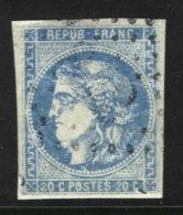 FRANCE - 20 C. Type III Report 1 Bleu Outremer Oblitéré - 1870 Bordeaux Printing