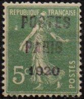 FRANCE  -5 C. POSTES PARIS 1920 Neuf Avec FAUSSE SURCHARGE - Préoblitérés