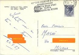 CARTOLINA 42° GIRO D'ITALIA VIIª TAPPA CRONOSCALATA DEL VESUVIO 22.5.1959 ANN.AUTOAMBULANTE P.T. - NAPOLI - Ciclismo