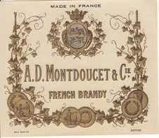 Etiquette  FRENCH BRANDY  A.D. MONDOUCET & Cie - Whisky