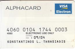 GREECE - Alpha Bank, Visa Electron, 09/99, Used - Geldkarten (Ablauf Min. 10 Jahre)