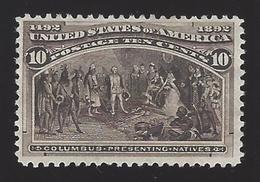 US #237 1893 Black Brown Perf 12 Mint NG VF SCV $100 - Unused Stamps