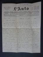 """Lettre Entête  Des Sports """"L'AUTO""""  PARIS  1926  Courrier   Personnel  Par  L J VALDIN  AUTOGRAPHE  Clas 4 - Handtekening"""