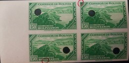 L) 1943 BOLIVIA, DAM, SCOTT 110, 1.50B EMERALD, PUNCK IMPERFORATED,  WATERLOW AND  SONS, PROOF, GREEN - Bolivia