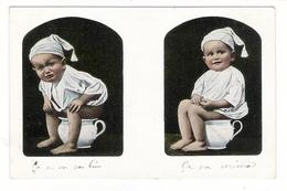 Bébé Sur Son POT DE CHAMBRE  ( Garçonnet Avec Bonnet De Nuit ) /  CPA  PRECURSEUR - Babies