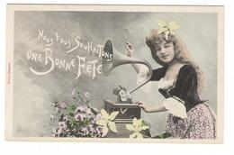 JEUNE  FILLE  +  PHONOGRAPHE  ( Vers 1900 ) /  Edit. BERGERET - Femmes