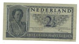 Ntherlands 2 1/2  Gulden, 1945, F/VF. P-73. - [2] 1815-… : Kingdom Of The Netherlands
