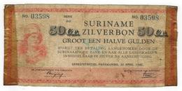 Suriname 50 Ct. Zilverbon, 1942, Used, See Scan. - Surinam