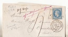 1869- Lettre De Villeuneuve S/yonne Avec 29 Type 2  Variété Suarnet 39 Planche 5 A3. Plus Taxe Manuscrite.TBE.Complet. - 1863-1870 Napoléon III Lauré