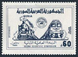 Syria 1041,MNH.Michel 1626. Scientific Symposium,1985.Locomotive. - Trains