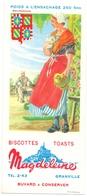 Vloeipapier Buvard Biscottes Toats Magdeleine - Granville - Illustr Jean Brun - Bourgogne - Sucreries & Gâteaux