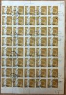 CHINA- FEUILLET   40 TIMBRES  DENTELÉS OBLITÉRÉS  N° 1253- BORDURE  AVEC NUMERO ET FILETS - Gebraucht