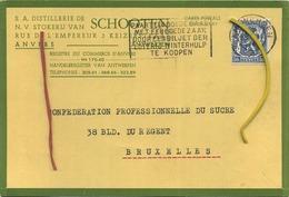 Schoten :  Distellerie - Stokerij   :  1941   :  Format 15 X 10 Cm    ( 2 Scans ) - Belgique