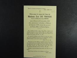 Zoé De Vroede Vve Minne Hoves 1855 Rebecq 1939 /019/ - Images Religieuses