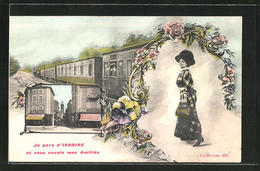 CPA Issoire, Frau Avec Grossem Hut, Vue De La Rue, Abfahrende Chemin De Fer - Issoire
