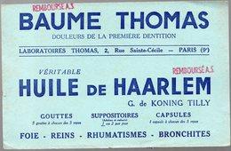Paris Rue Ste Cécile : Buvard BAUME THOMAS HUILE DE HAARLEM (pharmacie) (PPP9183) - Chemist's