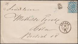 Belgique 1868 COB 18 Sur Lettre Pour L'étranger. 20 C Tarif Préférentiel, Anvers à Cologne. Ambulant Verviers Coeln - 1865-1866 Linksprofil