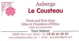 Foie Gras Carte De Visite De L'Auberge Le Cousteau, Yann Malaret, Saint-Lary (Gers) - Cartes De Visite
