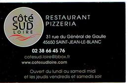 Carte De Visite Du Restaurant Pizzeria Côté Sud Loire, St Jean Le Blanc - Cartes De Visite
