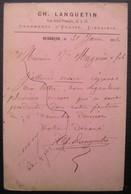 1880 Besançon Carte Avec Repiquage CH. Lanquetin Ornements D'Église, Librairie - Marcophilie (Lettres)