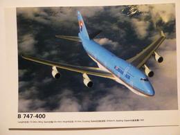 AIRLINE ISSUE / CARTE COMPAGNIE      KOREAN AIR  B 747  400 - 1946-....: Modern Era