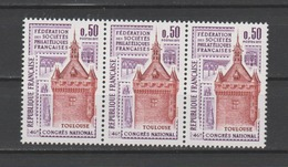FRANCE / 1973 / Y&T N° 1763 ** : Toulouse X 3 En Bande - Gomme D'origine Intacte - France