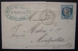 1876 Perpignan Veuve Prosper Auriol Et Ses Fils, Lettre Pour Montpellier (Hérault) - Marcophilie (Lettres)