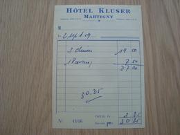 FACTURE HOTEL KLUSER MARTIGNY - Suisse