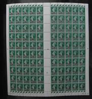"""FEUILLE De 100 TIMBRES """" SEMEUSE CAMÉE """" N° 476 NEUF ** Avec COIN DATÉ 24-8-38 (1938) - Feuilles Complètes"""