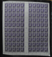 "FEUILLE De 100 TIMBRES "" SEMEUSE CAMÉE "" N° 218 NEUF ** (VOIR DOS) Avec COIN DATÉ 24-3-26 (1926) - Fogli Completi"