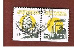 CILE (CHILE)  - SG 1422.1423   -    1990   ENVIRONMENTAL PROTECTION  (2 STAMPS SE-TENANT)              -     USED ° - Cile