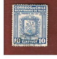CILE (CHILE)  -   TAX STAMPS SG T338   -    1942  TALCA ARMS   -     USED ° - Cile